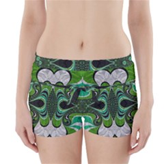 Fractal Art Green Pattern Design Boyleg Bikini Wrap Bottoms