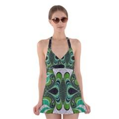 Fractal Art Green Pattern Design Halter Swimsuit Dress