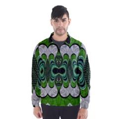 Fractal Art Green Pattern Design Wind Breaker (men)