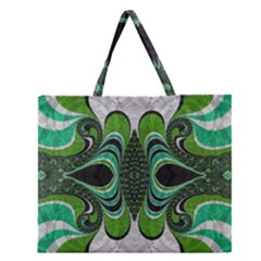 Fractal Art Green Pattern Design Zipper Large Tote Bag