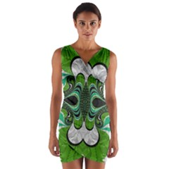 Fractal Art Green Pattern Design Wrap Front Bodycon Dress