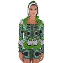 Fractal Art Green Pattern Design Women s Long Sleeve Hooded T-shirt