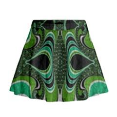 Fractal Art Green Pattern Design Mini Flare Skirt