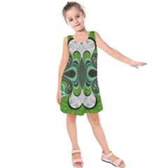 Fractal Art Green Pattern Design Kids  Sleeveless Dress