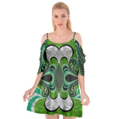 Fractal Art Green Pattern Design Cutout Spaghetti Strap Chiffon Dress