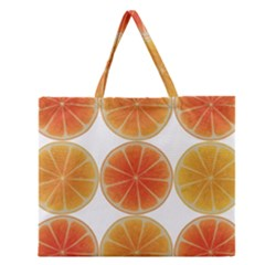 Orange Discs Orange Slices Fruit Zipper Large Tote Bag