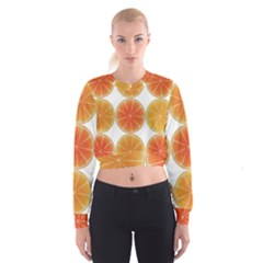 Orange Discs Orange Slices Fruit Cropped Sweatshirt