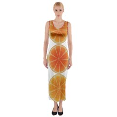 Orange Discs Orange Slices Fruit Fitted Maxi Dress