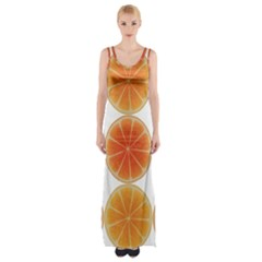 Orange Discs Orange Slices Fruit Maxi Thigh Split Dress