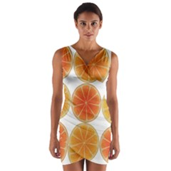 Orange Discs Orange Slices Fruit Wrap Front Bodycon Dress