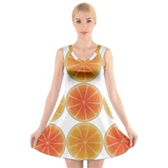 Orange Discs Orange Slices Fruit V Neck Sleeveless Skater Dress