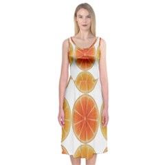Orange Discs Orange Slices Fruit Midi Sleeveless Dress