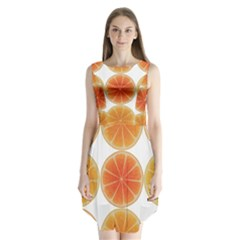 Orange Discs Orange Slices Fruit Sleeveless Chiffon Dress