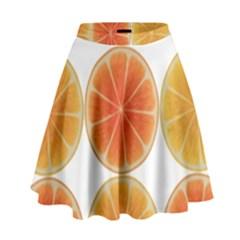 Orange Discs Orange Slices Fruit High Waist Skirt