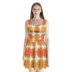 Orange Discs Orange Slices Fruit Split Back Mini Dress
