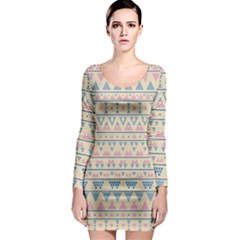 blue and pink tribal pattern Long Sleeve Bodycon Dress