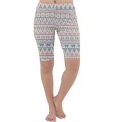 Blue And Pink Tribal Pattern Cropped Leggings