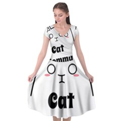 Love My Cat Mommy Cap Sleeve Wrap Front Dress