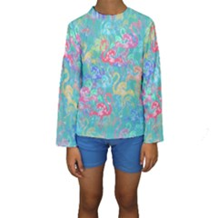 Flamingo pattern Kids  Long Sleeve Swimwear