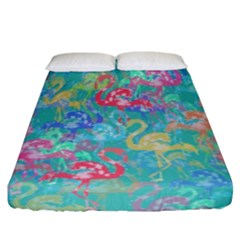 Flamingo pattern Fitted Sheet (California King Size)