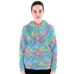 Flamingo pattern Women s Zipper Hoodie