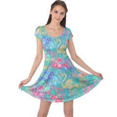 Flamingo pattern Cap Sleeve Dresses
