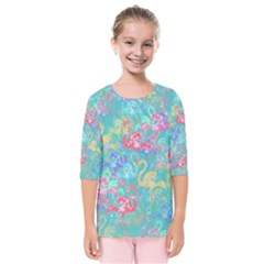 Flamingo pattern Kids  Quarter Sleeve Raglan Tee