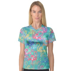 Flamingo pattern Women s V-Neck Sport Mesh Tee