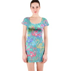 Flamingo pattern Short Sleeve Bodycon Dress