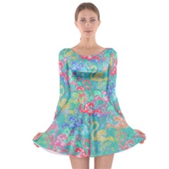 Flamingo pattern Long Sleeve Skater Dress