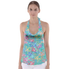 Flamingo pattern Babydoll Tankini Top