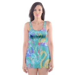 Flamingo pattern Skater Dress Swimsuit