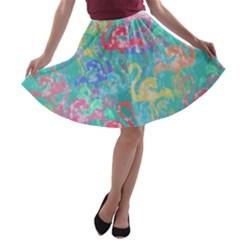 Flamingo pattern A-line Skater Skirt