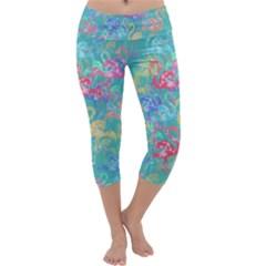 Flamingo pattern Capri Yoga Leggings