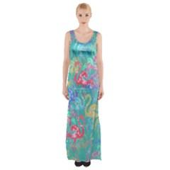 Flamingo pattern Maxi Thigh Split Dress
