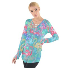 Flamingo pattern Women s Tie Up Tee