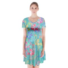 Flamingo pattern Short Sleeve V-neck Flare Dress