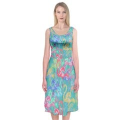 Flamingo pattern Midi Sleeveless Dress
