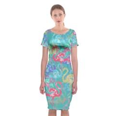 Flamingo pattern Classic Short Sleeve Midi Dress