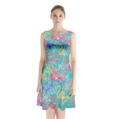 Flamingo pattern Sleeveless Waist Tie Chiffon Dress