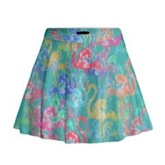 Flamingo pattern Mini Flare Skirt
