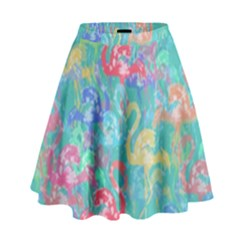 Flamingo pattern High Waist Skirt