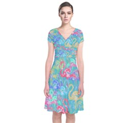 Flamingo pattern Short Sleeve Front Wrap Dress