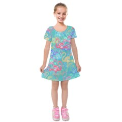 Flamingo pattern Kids  Short Sleeve Velvet Dress