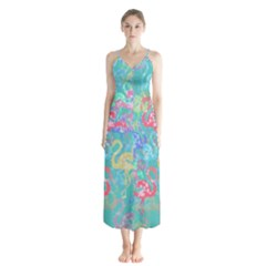 Flamingo pattern Chiffon Maxi Dress