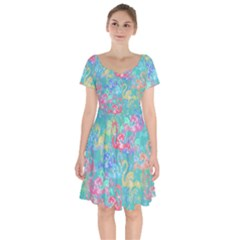 Flamingo pattern Short Sleeve Bardot Dress