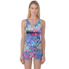 Flamingo pattern One Piece Boyleg Swimsuit