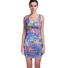 Flamingo pattern Sleeveless Bodycon Dress