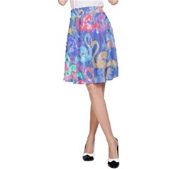 Flamingo pattern A-Line Skirt