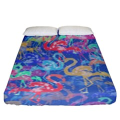 Flamingo pattern Fitted Sheet (King Size)